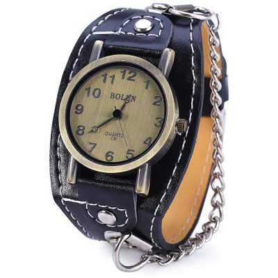 BOLUN C36 Wide Leather Band Quartz Male Watch with Chain