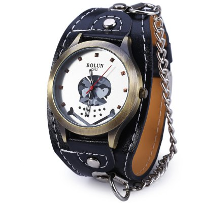 BOLUN C932 Wide Band Skull Quartz Male Watch with Chain