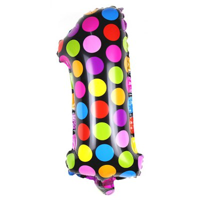 Pantong 16 inch Dot Pattern Number Balloon Party Holiday Decoration