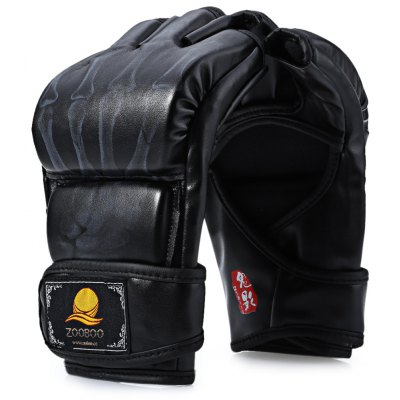 Zooboo 1 Pair PU Leather Half Finger Fighting Boxing Gloves