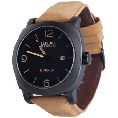 CURREN 8158 Male Quartz Watch Matte-leather Strap Wristwatch with Date Display
