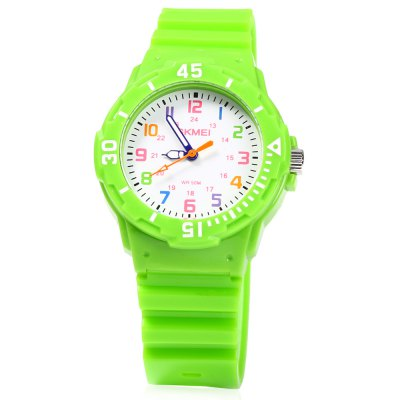 Skmei 1043 Children Quartz WatchKids Watches<br>Skmei 1043 Children Quartz Watch<br><br>Brand: Skmei<br>Watches categories: Children watch<br>Watch style: Fashion<br>Movement type: Quartz watch<br>Shape of the dial: Round<br>Display type: Analog<br>Case material: PC<br>Band material: PU<br>Clasp type: Pin buckle<br>Water resistance : 40 meters<br>The dial thickness: 1 cm / 0.39 inches<br>The dial diameter: 3.2 cm / 1.26 inches<br>The band width: 1.7 cm / 0.67 inches<br>Wearable length: 14 - 20 cm / 5.51 - 7.87 inches<br>Product weight: 0.020 kg<br>Package weight: 0.060 kg<br>Product size (L x W x H): 22.00 x 3.50 x 1.00 cm / 8.66 x 1.38 x 0.39 inches<br>Package size (L x W x H): 23.00 x 4.50 x 2.00 cm / 9.06 x 1.77 x 0.79 inches<br>Package Contents: 1 x Skmei Children Quartz Watch
