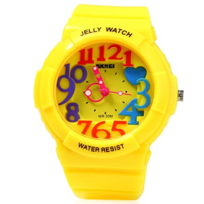 Skmei 1042 Children Quartz WatchKids Watches<br>Skmei 1042 Children Quartz Watch<br><br>Brand: Skmei<br>Watches categories: Children watch<br>Watch style: Fashion<br>Movement type: Quartz watch<br>Shape of the dial: Round<br>Display type: Analog<br>Case material: Plastic<br>Band material: Plastic<br>Clasp type: Pin buckle<br>Water resistance : 30 meters<br>The dial thickness: 1.2 cm / 0.47 inches<br>The dial diameter: 4.2 cm / 1.65 inches<br>The band width: 1.9 cm / 0.75 inches<br>Wearable length: 14 - 20 cm / 5.51 - 7.87 inches<br>Product weight: 0.034 kg<br>Package weight: 0.074 kg<br>Product size (L x W x H): 21.00 x 4.50 x 1.50 cm / 8.27 x 1.77 x 0.59 inches<br>Package size (L x W x H): 22.00 x 5.50 x 2.50 cm / 8.66 x 2.17 x 0.98 inches<br>Package Contents: 1 x Skmei Children Quartz Watch