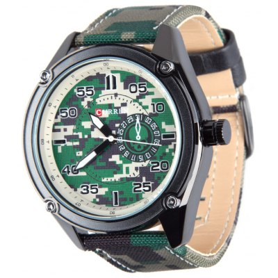 CURREN 8183 Outdoor Male Quartz Watch with Canvas Leather Strap