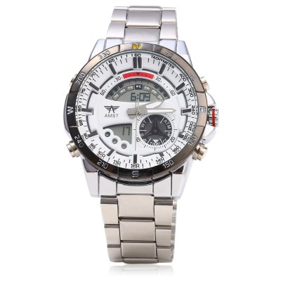 AMST AM3009 LED Stopwatch Day Date Quartz Male WatchMens Watches<br>AMST AM3009 LED Stopwatch Day Date Quartz Male Watch<br><br>Brand: AMST<br>Watches categories: Male table<br>Watch style: Fashion<br>Available color: Black,Blue,Gold,White<br>Movement type: Double-movtz<br>Shape of the dial: Round<br>Display type: Analog-Digital<br>Case material: Alloy<br>Band material: Steel<br>Special features: Date,Day,Light,Month,Stopwatch<br>The dial thickness: 1.5 cm / 0.59 inches<br>The dial diameter: 4.2 cm / 1.65 inches<br>The band width: 2.0 cm / 0.79 inches<br>Product weight: 0.140 kg<br>Package weight: 0.170 kg<br>Product size (L x W x H): 24.00 x 4.50 x 1.50 cm / 9.45 x 1.77 x 0.59 inches<br>Package size (L x W x H): 12.50 x 5.50 x 3.00 cm / 4.92 x 2.17 x 1.18 inches<br>Package Contents: 1 x AMST AM3009 Male Watch