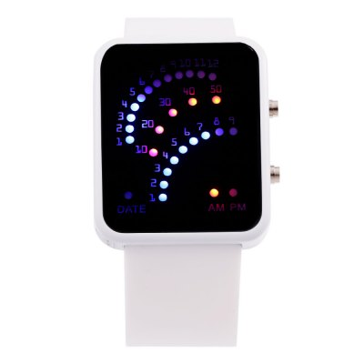 Date Display Fashion LED Sports Watch Rubber StrapLED Watches<br>Date Display Fashion LED Sports Watch Rubber Strap<br><br>People: Unisex table<br>Watch style: LED<br>Watches categories: Digital watch<br>Watch color: Black, Deep Blue, Green, Lake Blue, Pink, Purple, Red, White, Yellow<br>Shape of the dial: Rectangle<br>Movement type: Digital watch<br>Display type: LED lamp<br>Case material: Alloy<br>Band material: Rubber<br>Clasp type: Pin buckle<br>Special features: Date,EL Back-light<br>The dial thickness: 1.1 cm / 0.43 inches<br>The dial diameter: 3.5 cm / 1.38 inches<br>The band width: 2.3 cm / 0.91 inches<br>Wearable length: 16 - 21.5 cm / 6.30 - 8.47 inches<br>Product weight: 0.054 kg<br>Package weight: 0.084 kg<br>Product size (L x W x H): 23.60 x 3.80 x 1.10 cm / 9.29 x 1.50 x 0.43 inches<br>Package size (L x W x H): 24.60 x 4.80 x 2.10 cm / 9.69 x 1.89 x 0.83 inches<br>Package Contents: 1 x LED Female Watch