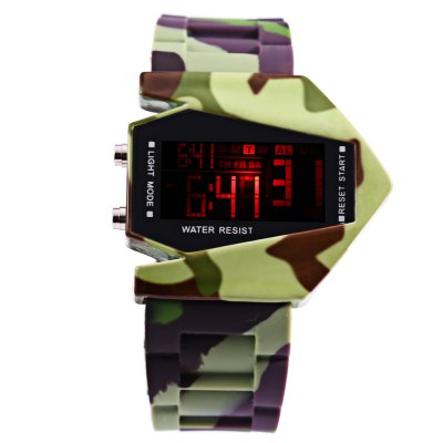 LED Sports Multi-function Airplane Shape Dial WatchLED Watches<br>LED Sports Multi-function Airplane Shape Dial Watch<br><br>People: Unisex table<br>Watch style: LED<br>Watches categories: Digital watch<br>Watch color: Camouflage color<br>Movement type: Digital watch<br>Display type: Digital<br>Case material: Plastic<br>Band material: Rubber<br>Clasp type: Pin buckle<br>Special features: Alarm Clock,Date,Day,EL Back-light,Stopwatch<br>The dial thickness: 1 cm / 0.39 inches<br>The dial diameter: 4.2 cm / 1.65 inches<br>The band width: 2.5 cm / 0.98 inches<br>Wearable length: 18.3 - 24 cm / 7.20 - 9.45 inches<br>Product weight: 0.082 kg<br>Package weight: 0.112 kg<br>Product size (L x W x H): 25.30 x 4.80 x 1.00 cm / 9.96 x 1.89 x 0.39 inches<br>Package size (L x W x H): 26.30 x 5.80 x 2.00 cm / 10.35 x 2.28 x 0.79 inches<br>Package Contents: 1 x LED Watch