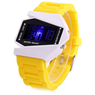 Candy Color LED Sports Multi-function Airplane Shape Dial Watch