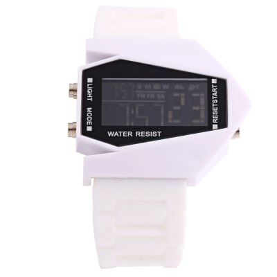Candy Color LED Sports Multi-function Airplane Shape Dial WatchLED Watches<br>Candy Color LED Sports Multi-function Airplane Shape Dial Watch<br><br>People: Unisex table<br>Watch style: LED<br>Available color: Black,Brown,Deep Blue,Lake blue,Pink,Red,Rose,White,Yellow<br>Watches categories: Digital watch<br>Movement type: Digital watch<br>Display type: Digital<br>Case material: Plastic<br>Band material: Rubber<br>Clasp type: Pin buckle<br>Special features: Alarm Clock,Date,Day,EL Back-light,Stopwatch<br>The dial thickness: 1 cm / 0.39 inches<br>The dial diameter: 4.2 cm / 1.65 inches<br>The band width: 2.5 cm / 0.98 inches<br>Wearable length: 19 - 23 cm / 7.48 - 9.06 inches<br>Product weight: 0.045 kg<br>Package weight: 0.075 kg<br>Product size (L x W x H): 25.00 x 4.80 x 1.00 cm / 9.84 x 1.89 x 0.39 inches<br>Package size (L x W x H): 26.00 x 5.80 x 2.00 cm / 10.24 x 2.28 x 0.79 inches<br>Package Contents: 1 x LED Watch