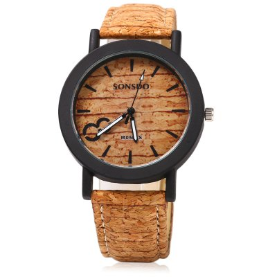 SONSDO 6793 Wood Texture Wristwatch Unisex Quartz WatchUnisex Watches<br>SONSDO 6793 Wood Texture Wristwatch Unisex Quartz Watch<br><br>Brand: SONSDO<br>People: Unisex table<br>Watch style: Casual<br>Available color: Brown<br>Shape of the dial: Round<br>Movement type: Quartz watch<br>Display type: Analog<br>Case material: Alloys<br>Band material: Leather<br>Clasp type: Pin buckle<br>The dial thickness: 0.7 cm / 0.28 inches<br>The dial diameter: 4.0 cm / 1.57 inches<br>The band width: 1.8 cm / 0.71 inches<br>Product weight: 0.031 kg<br>Package weight: 0.061 kg<br>Product size (L x W x H): 24.50 x 4.20 x 0.70 cm / 9.65 x 1.65 x 0.28 inches<br>Package size (L x W x H): 25.50 x 5.20 x 1.70 cm / 10.04 x 2.05 x 0.67 inches<br>Package Contents: 1 x SONSDO 6793 Unisex Watch