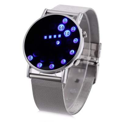 Date Day Display Round Dial LED Watch Steel Net Band