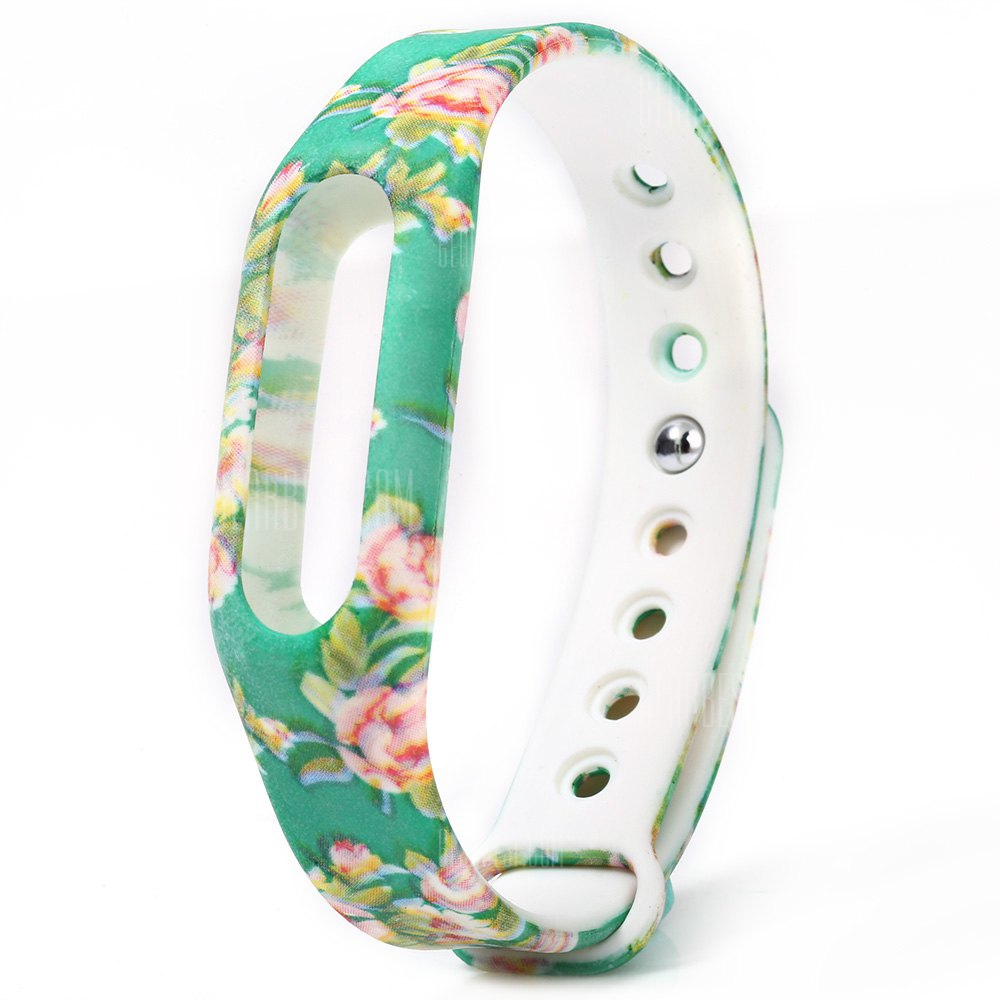 Floral Pattern Green Rubber Band for Xiaomi Miband / 1S