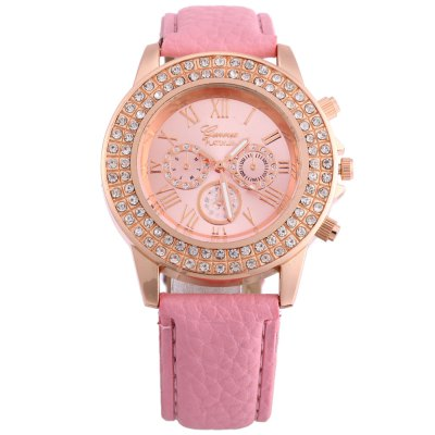 Women Quartz Watch Artificial Diamond WristwatchWomens Watches<br>Women Quartz Watch Artificial Diamond Wristwatch<br><br>Watches categories: Female table<br>Style: Fashion&amp;Casual<br>Movement type: Quartz watch<br>Shape of the dial: Round<br>Display type: Analog<br>Case material: Alloy<br>Case color: Gold<br>Band material: Leather<br>Clasp type: Pin buckle<br>The dial thickness: 0.8 cm / 0.31 inches<br>The dial diameter: 4 cm / 1.57 inches<br>The band width: 2 cm  / 0.79 inches<br>Wearable length: 17 - 21 cm / 6.69 - 8.27 inches<br>Product weight: 0.033 kg<br>Package weight: 0.073 kg<br>Product size (L x W x H): 24.00 x 4.50 x 0.80 cm / 9.45 x 1.77 x 0.31 inches<br>Package size (L x W x H): 25.00 x 5.50 x 1.80 cm / 9.84 x 2.17 x 0.71 inches<br>Package Contents: 1 x Women Quartz Watch