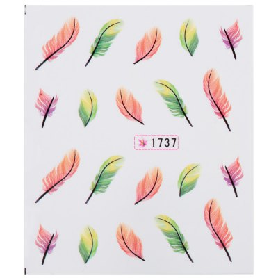 10pcs Fashionable Art Tips Feather Water Transfers Nail Sticker for Ladies