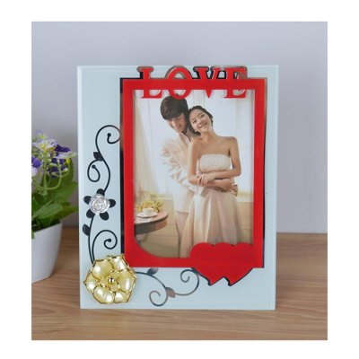7 inch Glass Material Love Theme Photo Frame for Habitation Decoration