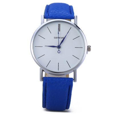Geneva Blue Pin Leather Belt Quartz Watch with Contrast Color Decorative Sub-dialWomens Watches<br>Geneva Blue Pin Leather Belt Quartz Watch with Contrast Color Decorative Sub-dial<br><br>Available Color: Black,Blue,Coffee,Green,Orange,Pink,Plum,Purple,Red,White,Yellow<br>Band material: PU Leather<br>Brand: Geneva<br>Case color: Silver<br>Case material: Alloy<br>Clasp type: Pin buckle<br>Display type: Analog<br>Movement type: Quartz watch<br>Package Contents: 1 x Quartz Leather Unisex Watch<br>Package size (L x W x H): 26.00 x 5.90 x 2.60 cm / 10.24 x 2.32 x 1.02 inches<br>Package weight: 0.056 KG<br>Product size (L x W x H): 24.00 x 3.90 x 0.60 cm / 9.45 x 1.54 x 0.24 inches<br>Product weight: 0.026KG<br>Shape of the dial: Round<br>Style: Stainless Steel<br>The band width: 2 cm / 0.79<br>The dial diameter: 3.8 cm / 1.50 inches<br>The dial thickness: 0.6 cm / 0.24 inches<br>Watches categories: Female table<br>Wearable length: 17.5 cm - 21.5 cm / 6.69 inches - 8.47 inches