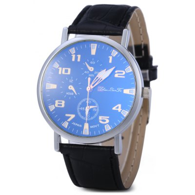 Blu-ray Glass Unisex Quartz Watch with Embossed Leather Band