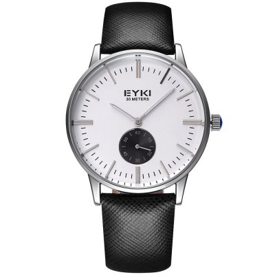 EYKI 3795 Nail Scale Unisex Quartz Watch Genuine Leather BandUnisex Watches<br>EYKI 3795 Nail Scale Unisex Quartz Watch Genuine Leather Band<br><br>Brand: Eyki<br>People: Unisex table<br>Watch style: Fashion<br>Available color: Black,Blue,Gold,Rose Gold<br>Shape of the dial: Round<br>Movement type: Quartz watch<br>Display type: Analog<br>Case material: Alloys<br>Band material: Genuine Leather<br>Clasp type: Pin buckle<br>Water resistance : 30 meters<br>Special features: Working small sub-dials<br>The dial thickness: 0.9 cm / 0.35 inches<br>The dial diameter: 3.88 cm / 1.53 inches<br>The band width: 1.9 cm / 0.75 inches<br>Wearable length: 21.5 cm / 8.46 inches<br>Product weight: 0.047 kg<br>Package weight: 0.077 kg<br>Product size (L x W x H): 23.80 x 4.00 x 0.90 cm / 9.37 x 1.57 x 0.35 inches<br>Package size (L x W x H): 24.80 x 5.00 x 1.90 cm / 9.76 x 1.97 x 0.75 inches<br>Package Contents: 1 x Unisex Watch