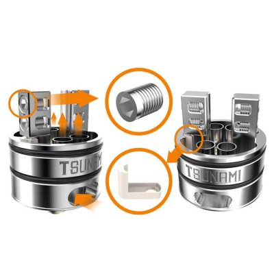 Original Geekvape Tsunami RDARebuildable Atomizers<br>Original Geekvape Tsunami RDA<br><br>Available Color: Black,Silver<br>Brand: Geekvape<br>Coil Quantity: Dual coil,Single coil<br>Material: Stainless Steel<br>Overall Diameter: 22mm<br>Package Contents: 1 x Geekvape Tsunami RDA, 1 x 510 Adapter, 2 x Extra Drip Tip<br>Package size (L x W x H): 4.20 x 4.20 x 6.50 cm / 1.65 x 1.65 x 2.56 inches<br>Package weight: 0.120 kg<br>Product size (L x W x H): 2.20 x 2.20 x 3.95 cm / 0.87 x 0.87 x 1.56 inches<br>Product weight: 0.050 kg<br>Rebuildable Atomizer: RBA,RDA<br>Thread: 510<br>Type: Rebuildable Drippers, Rebuildable Atomizer