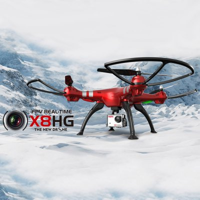 Syma X8HG RC DroneRC Quadcopters<br>Syma X8HG RC Drone<br><br>Age: Above 14 years old<br>Battery: 7.4V 2000mAh<br>Brand: Syma<br>Built-in Gyro: Yes<br>Camera Pixels: 8MP, 1920 x 1080P<br>Channel: 4-Channels<br>Detailed Control Distance: About 100m<br>Features: Barometer Set Height<br>Flying Time: About 10mins<br>Functions: Sideward flight, Trim, 360 degrees spin, Camera, Forward/backward, Height Holding, Hover, Turn left/right, Up/down, With light<br>Kit Types: RTF<br>Level: Intermediate Level<br>Material: ABS/PS, Electronic Components<br>Model Power: Rechargeable Battery<br>Motor Type: Brushed Motor<br>Night Flight: Yes<br>Package Contents: 1 x Quadcopter, 1 x Transmitter, 1 x Charger, 1 x Camera, 4 x Spare Propeller, 1 x Card Reader, 2 x Landing Gear, 1 x Screwdriver, 4 x Protection Frame, 1 x Screw Set<br>Package size (L x W x H): 74.50 x 35.00 x 12.20 cm / 29.33 x 13.78 x 4.8 inches<br>Package weight: 2.4500 kg<br>Product size (L x W x H): 50.00 x 50.00 x 19.00 cm / 19.69 x 19.69 x 7.48 inches<br>Product weight: 0.6250 kg<br>Remote Control: 2.4GHz Wireless Remote Control<br>Transmitter Power: 4 x 1.5V AA battery(not included)<br>Type: Quadcopter, RC Simulators