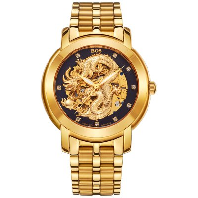 BOS 9007G Dragon Decoration Male Automatic Mechanical WatchMechanical Watches<br>BOS 9007G Dragon Decoration Male Automatic Mechanical Watch<br><br>Brand: BOS<br>Watches categories: Male table<br>Watch style: Fashion,Hollow-out<br>Style elements: Diamond,Hollow Out,Stainless Steel<br>Watch color: Golden, Black and Rose gold, White and Gold, Black and Brown, White and Brown, Brown and Gold, Black, Black and Golden, White and Black<br>Movement type: Automatic mechanical watch<br>Shape of the dial: Round<br>Display type: Analog<br>Case material: Stainless Steel<br>Band material: Stainless Steel<br>Clasp type: Butterfly clasp<br>The dial thickness: 1.2 cm / 0.47 inches<br>The dial diameter: 4.0 cm / 1.57 inches<br>The band width: 2.0 cm  / 0.79 inches<br>Product weight: 0.130 kg<br>Package weight: 0.160 kg<br>Product size (L x W x H): 22.00 x 4.10 x 1.20 cm / 8.66 x 1.61 x 0.47 inches<br>Package size (L x W x H): 23.00 x 5.10 x 2.20 cm / 9.06 x 2.01 x 0.87 inches<br>Package Contents: 1 x BOS Watch