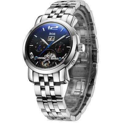 BOS 9002G Multi-function Male Automatic Mechanical WatchMechanical Watches<br>BOS 9002G Multi-function Male Automatic Mechanical Watch<br><br>Brand: BOS<br>Watches categories: Male table<br>Watch style: Casual,Fashion<br>Available color: Black,Brown,Silver,Silver and Black<br>Movement type: Automatic mechanical watch<br>Shape of the dial: Round<br>Display type: Analog<br>Case material: Stainless Steel<br>Band material: Stainless Steel<br>Clasp type: Butterfly clasp<br>Special features: Date,Day,Month,Tourbillon,Working sub-dial<br>The dial thickness: 1.3 cm / 0.51 inches<br>The dial diameter: 4.0 cm / 1.57 inches<br>The band width: 2.0 cm  / 0.79 inches<br>Product weight: 0.162 kg<br>Package weight: 0.192 kg<br>Product size (L x W x H): 22.00 x 4.10 x 1.30 cm / 8.66 x 1.61 x 0.51 inches<br>Package size (L x W x H): 23.00 x 5.10 x 2.30 cm / 9.06 x 2.01 x 0.91 inches<br>Package Contents: 1 x BOS Watch