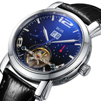 BOS 9002G Multi-function Male Automatic Mechanical WatchMechanical Watches<br>BOS 9002G Multi-function Male Automatic Mechanical Watch<br><br>Brand: BOS<br>Watches categories: Male table<br>Watch style: Casual,Fashion<br>Style elements: Stainless Steel<br>Available color: Black,Brown,Silver,Silver and Black<br>Movement type: Automatic mechanical watch<br>Shape of the dial: Round<br>Display type: Analog<br>Case material: Stainless Steel<br>Band material: Genuine Leather<br>Clasp type: Butterfly clasp<br>Special features: Date,Month,Tourbillon,Week,Working sub-dial<br>The dial thickness: 1.3 cm / 0.51 inches<br>The dial diameter: 4.0 cm / 1.57 inches<br>The band width: 2.0 cm  / 0.79 inches<br>Product weight: 0.093 kg<br>Package weight: 0.123 kg<br>Product size (L x W x H): 22.00 x 4.10 x 1.30 cm / 8.66 x 1.61 x 0.51 inches<br>Package size (L x W x H): 23.00 x 5.10 x 2.30 cm / 9.06 x 2.01 x 0.91 inches<br>Package Contents: 1 x BOS Watch