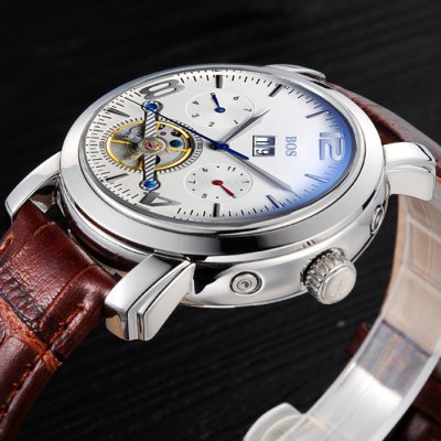 BOS 9002G Multi-function Male Automatic Mechanical WatchMechanical Watches<br>BOS 9002G Multi-function Male Automatic Mechanical Watch<br><br>Brand: BOS<br>Watches categories: Male table<br>Watch style: Casual,Fashion<br>Style elements: Stainless Steel<br>Available color: Black,Brown,Silver,Silver and Black<br>Movement type: Automatic mechanical watch<br>Shape of the dial: Round<br>Display type: Analog<br>Case material: Stainless Steel<br>Band material: Genuine Leather<br>Clasp type: Butterfly clasp<br>Special features: Date,Day,Month,Tourbillon,Working sub-dial<br>The dial thickness: 1.3 cm / 0.51 inches<br>The dial diameter: 4.0 cm / 1.57 inches<br>The band width: 2.0 cm  / 0.79 inches<br>Product weight: 0.093 kg<br>Package weight: 0.123 kg<br>Product size (L x W x H): 22.00 x 4.10 x 1.30 cm / 8.66 x 1.61 x 0.51 inches<br>Package size (L x W x H): 23.00 x 5.10 x 2.30 cm / 9.06 x 2.01 x 0.91 inches<br>Package Contents: 1 x BOS Watch