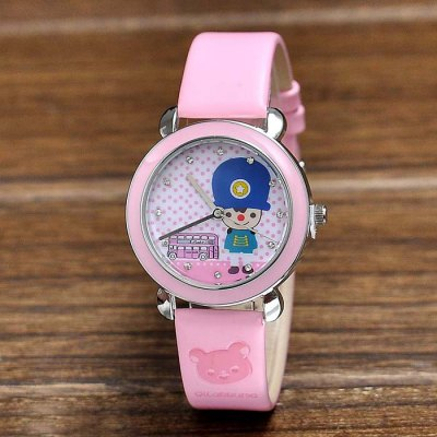 Cute Bear British Guard Pattern Quartz Women Watch PU Band