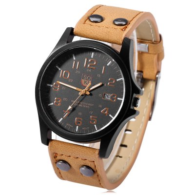 Unisex Quartz Watch Military WristwatchUnisex Watches<br>Unisex Quartz Watch Military Wristwatch<br><br>People: Unisex table<br>Watch style: Trends in outdoor sports<br>Movement type: Quartz watch<br>Display type: Analog<br>Case material: Stainless Steel<br>Case color: Black<br>Band material: Leather<br>Clasp type: Double buckle<br>Special features: Date<br>The dial thickness: 1 cm / 0.39 inches<br>The dial diameter: 4 cm / 1.57 inches<br>The band width: 2.2 cm / 0.87 inches<br>Wearable length: 18 - 22 cm / 7.09 - 8.66 inches<br>Product weight: 0.045 kg<br>Package weight: 0.085 kg<br>Product size (L x W x H): 25.00 x 4.50 x 1.00 cm / 9.84 x 1.77 x 0.39 inches<br>Package size (L x W x H): 26.00 x 5.50 x 2.00 cm / 10.24 x 2.17 x 0.79 inches<br>Package Contents: 1 x Unisex Quartz Watch