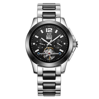 BOS 9001G Multi-function Male Automatic Mechanical WatchMechanical Watches<br>BOS 9001G Multi-function Male Automatic Mechanical Watch<br><br>Brand: BOS<br>Watches categories: Male table<br>Watch style: Casual,Fashion<br>Style elements: Ceramics,Stainless Steel<br>Available Color: Black,Silver and Black<br>Movement type: Automatic mechanical watch<br>Shape of the dial: Round<br>Display type: Analog<br>Case material: Stainless steel + ceramic<br>Band material: Stainless steel + ceramic<br>Clasp type: Butterfly clasp<br>Special features: Date,Day,Month,Tourbillon,Working sub-dial<br>The dial thickness: 1.2 cm / 0.47 inches<br>The dial diameter: 4.0 cm / 1.57 inches<br>The band width: 2.0 cm  / 0.79 inches<br>Product weight: 0.1590 kg<br>Package weight: 0.1890 kg<br>Product size (L x W x H): 22.00 x 4.10 x 1.20 cm / 8.66 x 1.61 x 0.47 inches<br>Package size (L x W x H): 23.00 x 5.10 x 2.20 cm / 9.06 x 2.01 x 0.87 inches<br>Package Contents: 1 x BOS Watch