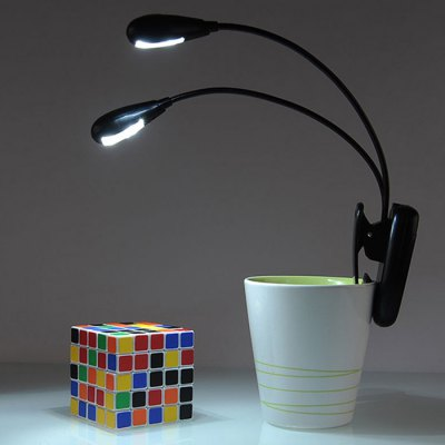 Dual Arms Flexible Clip USB AAA LED Reading Light
