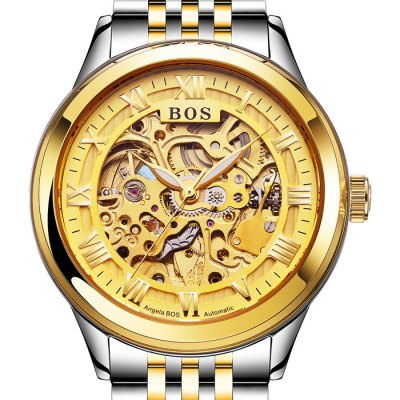 ФОТО BOS 9013 Hollow-out Dial Male Automatic Mechanical Watch