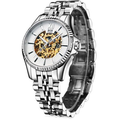 BOS 9010G Hollow-out Dial Male Automatic Mechanical WatchMechanical Watches<br>BOS 9010G Hollow-out Dial Male Automatic Mechanical Watch<br><br>Brand: BOS<br>Watches categories: Male table<br>Watch style: Fashion,Hollow-out<br>Style elements: Hollow Out,Stainless Steel<br>Watch color: White and Gold, Black and Gold, Silver and White, Silver and Black<br>Movement type: Automatic mechanical watch<br>Shape of the dial: Round<br>Display type: Analog<br>Case material: Stainless Steel<br>Band material: Stainless Steel<br>Clasp type: Butterfly clasp<br>The dial thickness: 1.1 cm / 0.43 inches<br>The dial diameter: 4.1 cm / 1.61 inches<br>The band width: 2.0 cm  / 0.79 inches<br>Product weight: 0.135 kg<br>Package weight: 0.165 kg<br>Product size (L x W x H): 22.00 x 4.30 x 1.10 cm / 8.66 x 1.69 x 0.43 inches<br>Package size (L x W x H): 23.00 x 5.30 x 2.10 cm / 9.06 x 2.09 x 0.83 inches<br>Package Contents: 1 x BOS Watch