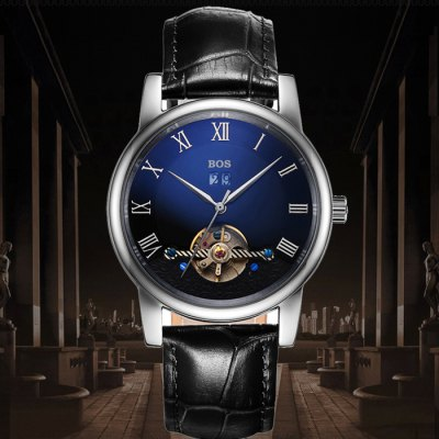 BOS 9005G Date Display Male Automatic Mechanical WatchMechanical Watches<br>BOS 9005G Date Display Male Automatic Mechanical Watch<br><br>Brand: BOS<br>Watches categories: Male table<br>Watch style: Fashion<br>Style elements: Hollow Out,Stainless Steel<br>Watch color: Black and Rose gold, Silver and Black, Silver and Brown, Rose Gold and Brown, Silver and Brown and Blue, Silver and Black and Blue, Rose Gold and Brown and Blue, Rose Gold and Black and Blue<br>Movement type: Automatic mechanical watch<br>Shape of the dial: Round<br>Display type: Analog<br>Case material: Stainless Steel<br>Band material: Genuine Leather<br>Clasp type: Butterfly clasp<br>Special features: Date,Tourbillon<br>The dial thickness: 1.2 cm / 0.47 inches<br>The dial diameter: 4.3 cm / 1.69 inches<br>The band width: 2.0 cm  / 0.79 inches<br>Product weight: 0.100 kg<br>Package weight: 0.130 kg<br>Product size (L x W x H): 22.00 x 4.50 x 1.20 cm / 8.66 x 1.77 x 0.47 inches<br>Package size (L x W x H): 23.00 x 5.50 x 2.20 cm / 9.06 x 2.17 x 0.87 inches<br>Package Contents: 1 x BOS Watch