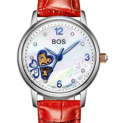 BOS 9003L Diamond Scale Female Automatic Mechanical WatchBOS 9003L Diamond Scale Female Automatic Mechanical Watch<br><br>Brand: BOS<br>Watches categories: Female table<br>Available color: Pink and Rose Gold,Pink and Silver,Red and Rose Gold,Rose Gold and White,Silver and Red,Silver and White<br>Style: Diamond,Hollow Out,Stainless Steel<br>Movement type: Automatic mechanical watch<br>Shape of the dial: Round<br>Display type: Analog<br>Case material: Stainless Steel<br>Band material: Genuine Leather<br>Clasp type: Pin buckle<br>The dial thickness: 1.2 cm / 0.47 inches<br>The dial diameter: 3.4 cm / 1.34 inches<br>The band width: 1.6 cm  / 0.63 inches<br>Product weight: 0.046 kg<br>Package weight: 0.076 kg<br>Product size (L x W x H): 20.00 x 3.50 x 1.20 cm / 7.87 x 1.38 x 0.47 inches<br>Package size (L x W x H): 21.00 x 4.50 x 2.20 cm / 8.27 x 1.77 x 0.87 inches<br>Package Contents: 1 x BOS Watch