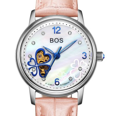 BOS 9003L Diamond Scale Female Automatic Mechanical WatchMechanical Watches<br>BOS 9003L Diamond Scale Female Automatic Mechanical Watch<br><br>Brand: BOS<br>Watches categories: Female table<br>Available color: Pink and Rose Gold,Pink and Silver,Red and Rose Gold,Rose Gold and White,Silver and Red,Silver and White<br>Style: Diamond,Hollow Out,Stainless Steel<br>Movement type: Automatic mechanical watch<br>Shape of the dial: Round<br>Display type: Analog<br>Case material: Stainless Steel<br>Band material: Genuine Leather<br>Clasp type: Pin buckle<br>The dial thickness: 1.2 cm / 0.47 inches<br>The dial diameter: 3.4 cm / 1.34 inches<br>The band width: 1.6 cm  / 0.63 inches<br>Product weight: 0.046 kg<br>Package weight: 0.076 kg<br>Product size (L x W x H): 20.00 x 3.50 x 1.20 cm / 7.87 x 1.38 x 0.47 inches<br>Package size (L x W x H): 21.00 x 4.50 x 2.20 cm / 8.27 x 1.77 x 0.87 inches<br>Package Contents: 1 x BOS Watch