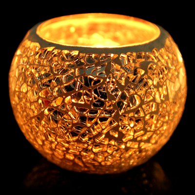European Mosaic Glass Style Candle Holder