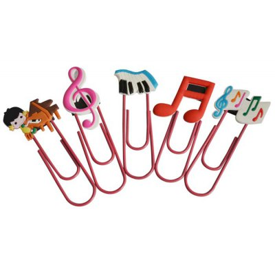 5PCS DEDO MG-15 Colorful Music Bookmark Paper Clips