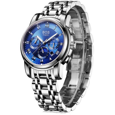 BOS 9011 Multi-function Male Automatic Mechanical WatchMechanical Watches<br>BOS 9011 Multi-function Male Automatic Mechanical Watch<br><br>Brand: BOS<br>Watches categories: Male table<br>Watch style: Fashion<br>Style elements: Big dial,Stainless Steel<br>Available color: Black,Blue,White<br>Movement type: Automatic mechanical watch<br>Shape of the dial: Round<br>Display type: Analog<br>Case material: Stainless Steel<br>Band material: Stainless Steel<br>Clasp type: Butterfly clasp<br>Special features: Date,Day,Month,Phases of the moon,Working sub-dial<br>The dial thickness: 1.1 cm / 0.43 inches<br>The dial diameter: 4.1 cm / 1.61 inches<br>The band width: 2.0 cm  / 0.79 inches<br>Product weight: 0.139 kg<br>Package weight: 0.169 kg<br>Product size (L x W x H): 22.00 x 4.30 x 1.10 cm / 8.66 x 1.69 x 0.43 inches<br>Package size (L x W x H): 23.00 x 5.30 x 2.10 cm / 9.06 x 2.09 x 0.83 inches<br>Package Contents: 1 x BOS Watch