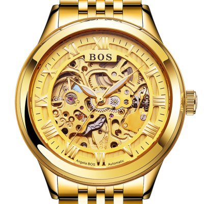 BOS 9013 Hollow-out Dial Male Automatic Mechanical WatchMechanical Watches<br>BOS 9013 Hollow-out Dial Male Automatic Mechanical Watch<br><br>Brand: BOS<br>Watches categories: Male table<br>Watch style: Fashion,Hollow-out<br>Style elements: Hollow Out,Stainless Steel<br>Available color: Gold,Gold and Silver,Silver and Black,Silver and White<br>Movement type: Automatic mechanical watch<br>Shape of the dial: Round<br>Display type: Analog<br>Case material: Stainless Steel<br>Band material: Stainless Steel<br>Clasp type: Butterfly clasp<br>The dial thickness: 1.1 cm / 0.43 inches<br>The dial diameter: 4.2 cm / 1.65 inches<br>The band width: 2.0 cm  / 0.79 inches<br>Product weight: 0.140 kg<br>Package weight: 0.170 kg<br>Product size (L x W x H): 22.00 x 4.40 x 1.10 cm / 8.66 x 1.73 x 0.43 inches<br>Package size (L x W x H): 23.00 x 5.40 x 2.10 cm / 9.06 x 2.13 x 0.83 inches<br>Package Contents: 1 x BOS Watch