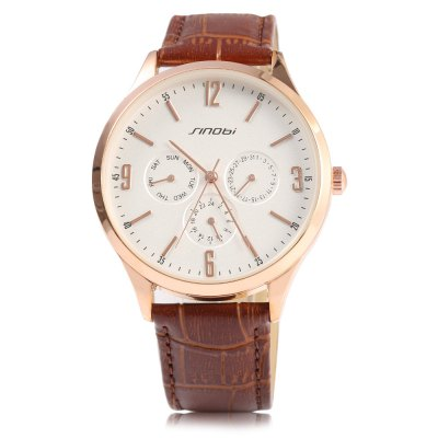 Sinobi 9546 Men Japan Quartz WatchMens Watches<br>Sinobi 9546 Men Japan Quartz Watch<br><br>Brand: Sinobi<br>Watches categories: Male table<br>Watch style: Business,Casual,Fashion<br>Movement type: Quartz watch<br>Shape of the dial: Round<br>Display type: Analog<br>Case material: Stainless Steel<br>Band material: Leather<br>Clasp type: Pin buckle<br>Special features: Calendar,Date<br>Water resistance : 30 meters<br>The dial thickness: 0.80 cm / 0.31 inches<br>The dial diameter: 4.1 cm / 1.61 inches<br>The band width: 1.8 cm / 0.701 inches<br>Wearable length: 18.4 - 25 cm / 7.24 - 9.84 inches<br>Product weight: 0.045 kg<br>Package weight: 0.078 kg<br>Product size (L x W x H): 25.00 x 4.40 x 0.80 cm / 9.84 x 1.73 x 0.31 inches<br>Package size (L x W x H): 26.00 x 5.40 x 1.00 cm / 10.24 x 2.13 x 0.39 inches<br>Package Contents: 1 x Sinobi 9546 Watch