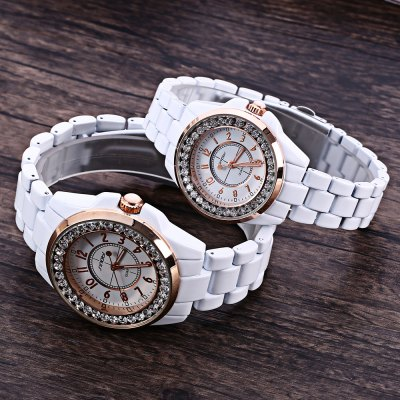 Sinobi 9390 Couple Quartz WatchSinobi 9390 Couple Quartz Watch<br><br>Brand: Sinobi<br>Watches categories: Couple tables<br>Watch style: Fashion<br>Shape of the dial: Round<br>Movement type: Quartz watch<br>Display type: Analog<br>Case material: Stainless Steel<br>Band material: Ceramic and steel<br>Clasp type: Pin buckle<br>Water resistance : 30 meters<br>Package weight: 0.260 KG<br>Package size (L x W x H): 10.60 x 16.40 x 1.90 cm / 4.17 x 6.46 x 0.75 inches<br>The male dial dimension (L x W x H): 3.60 x 3.6 x 1.20 cm / 1.42 x 1.42 x 0.47 inches<br>The male watch band dimension (L x W): 19.20 x 1.8 cm / 7.56 x 0.71 inches<br>The male watch weight: 0.126 kg<br>The male watch size (L x W x H): 19.20 x 4.20 x 1.20 cm / 7.56 x 1.65 x 0.47 inches<br>The female dial dimension (L x W x H): 3.2 x 3.2 x 0.90 cm / 1.26 x 1.26 x 0.35 inches<br>The female watch band dimension (L x W): 21.6 x 1.9 cm / 8.50 x 0.75 inches<br>The female watch weight: 0.083 kg<br>The female size (L x W x H): 17.40 x 3.50 x 0.90 cm / 6.85 x 1.38 x 0.35 inches<br>Package Contents: 2 x Sinobi 9390 Watch