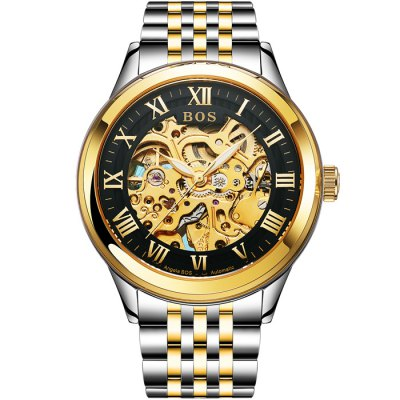 BOS 9013 Hollow-out Dial Male Automatic Mechanical WatchMechanical Watches<br>BOS 9013 Hollow-out Dial Male Automatic Mechanical Watch<br><br>Brand: BOS<br>Watches categories: Male table<br>Watch style: Fashion,Hollow-out<br>Style elements: Hollow Out,Stainless Steel<br>Available Color: Gold,Gold and Silver,Silver and Black,Silver and White<br>Movement type: Automatic mechanical watch<br>Shape of the dial: Round<br>Display type: Analog<br>Case material: Stainless Steel<br>Band material: Stainless Steel<br>Clasp type: Butterfly clasp<br>The dial thickness: 1.1 cm / 0.43 inches<br>The dial diameter: 4.2 cm / 1.65 inches<br>The band width: 2.0 cm  / 0.79 inches<br>Product weight: 0.1400 kg<br>Package weight: 0.1700 kg<br>Product size (L x W x H): 22.00 x 4.40 x 1.10 cm / 8.66 x 1.73 x 0.43 inches<br>Package size (L x W x H): 23.00 x 5.40 x 2.10 cm / 9.06 x 2.13 x 0.83 inches<br>Package Contents: 1 x BOS Watch