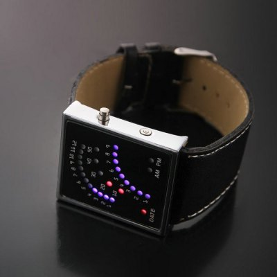 Date Function Rectangle Dial LED Watch with Leather Band