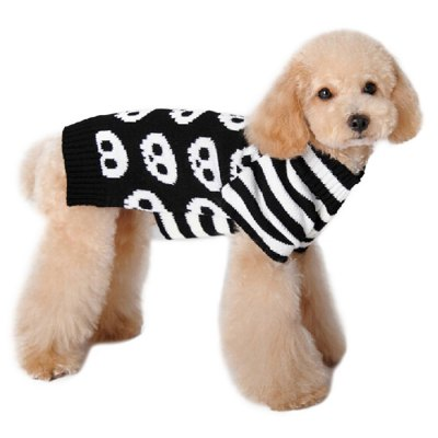 Cool Skull Striped Pattern Puppy Dog Sweater