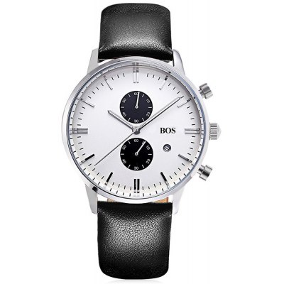 BOS Quartz Man Watch Working Sub-dials with Leather Band