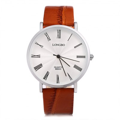 Longbo 8860D Male Ultrathin Leather Strap Quartz WatchMens Watches<br>Longbo 8860D Male Ultrathin Leather Strap Quartz Watch<br><br>Brand: Longbo<br>Watches categories: Male table<br>Watch style: Fashion,Ultrathin<br>Available color: Black,White<br>Movement type: Quartz watch<br>Shape of the dial: Round<br>Display type: Analog<br>Case material: Alloy<br>Band material: Leather<br>Clasp type: Pin buckle<br>Water resistance : Life water resistant<br>The dial thickness: 0.7 cm / 0.28 inch<br>The dial diameter: 4 cm / 1.57 inch<br>The band width: 1.9 cm / 0.75 inch<br>Wearable length: 18.5 - 21.5 cm / 7.28 - 8.46 inch<br>Product weight: 0.035 kg<br>Package weight: 0.071 kg<br>Product size (L x W x H): 24.00 x 4.00 x 0.70 cm / 9.45 x 1.57 x 0.28 inches<br>Package size (L x W x H): 14.00 x 5.00 x 1.70 cm / 5.51 x 1.97 x 0.67 inches<br>Package Contents: 1 x Watch