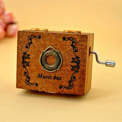 Retro Hand Crank Music Box Beautiful Decoration Excellent Gift