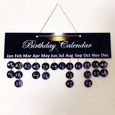Creative Birthday Reminder PlaqueCrafts<br>Creative Birthday Reminder Plaque<br><br>Subjects: Cute<br>Product weight: 0.400 kg<br>Package weight: 0.530 kg<br>Package size (L x W x H): 45.00 x 5.00 x 13.00 cm / 17.72 x 1.97 x 5.12 inches<br>Package Contents: 1 x rectangle Board, 28 x Small Round Board, 1 x Tag, 1 x Hemp Rope, 1 x Marke Pen